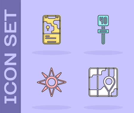 Set City map navigation, , Wind rose and Road traffic sign icon. Vector