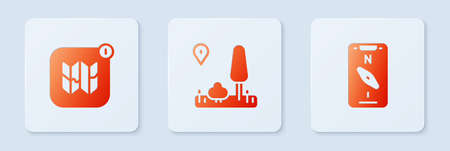 Set City map navigation, Infographic of city and Compass mobile. White square button. Vector