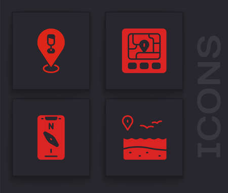 Set Location with beach, Alcohol or beer bar location, Gps device map and Compass mobile icon. Vector Ilustracja