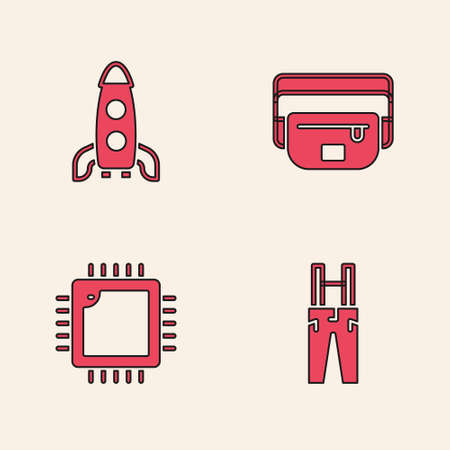Set Pants with suspenders, Rocket ship, Waist bag of banana and Processor CPU icon. Vector