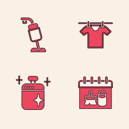 Set Cleaning calendar, Vacuum cleaner, Drying clothes and cooking pot icon. Vector Ilustracja