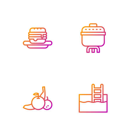 Set line Swimming pool with ladder, Fruit, Junk food and Cooking pot. Gradient color icons. Vector