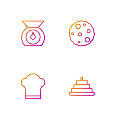 Set line Cake with burning candles, Chef hat, Scales and Cookie or biscuit. Gradient color icons. Vector Vektorové ilustrace