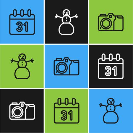 Set line Calendar, Photo camera and Christmas snowman icon. Vector