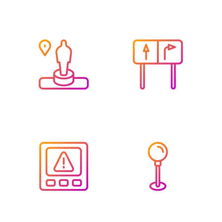 Set line Push pin, Gps device error, Location and monument and Road traffic sign. Gradient color icons. Vector Ilustracja