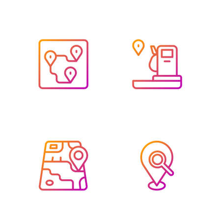Set line Search location, City map navigation, Route and Location and gas station. Gradient color icons. Vector