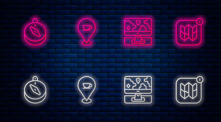 Set line Location with coffee cup, Monitor location marker, Compass and Infographic city map. Glowing neon icon on brick wall. Vector