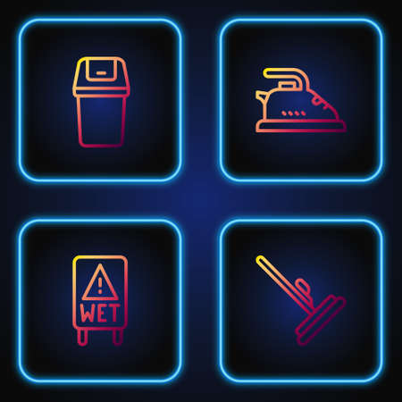 Set line Mop, Wet floor, Trash can and Electric iron. Gradient color icons. Vector