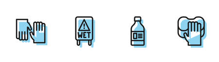 Set line Bottle for cleaning agent, Rubber gloves, Wet floor and Cleaning service icon. Vector Ilustracja
