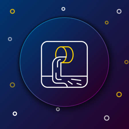 Line Wastewater icon isolated on blue background. Sewer pipe. From the pipe flowing liquid into the river. Colorful outline concept. Vector
