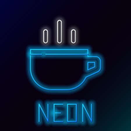 Glowing neon line Coffee cup icon isolated on black background. Tea cup. Hot drink coffee. Colorful outline concept. Vector Vettoriali