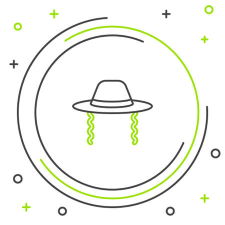 Line Orthodox jewish hat with sidelocks icon isolated on white background. Jewish men in the traditional clothing. Judaism symbols. Colorful outline concept. Vector