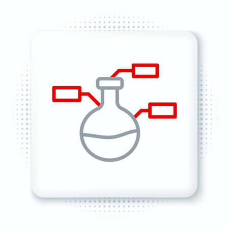 Line Test tube and flask chemical laboratory test icon isolated on white background. Laboratory glassware sign. Colorful outline concept. Vector
