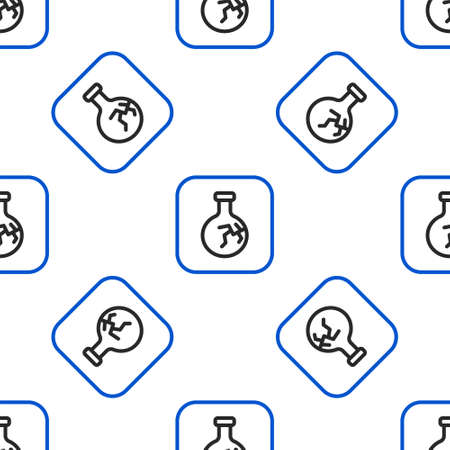 Line Cracked test tube and flask chemical laboratory test icon isolated seamless pattern on white background. Laboratory glassware sign. Colorful outline concept. Vector Vettoriali