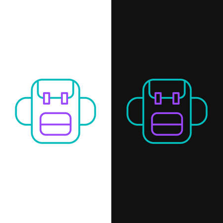 Line School backpack icon isolated on white and black background. Colorful outline concept. Vector