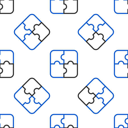 Line Piece of puzzle icon isolated seamless pattern on white background. Business, marketing, finance, template, layout, infographics, internet concept. Colorful outline concept. Vector Vettoriali