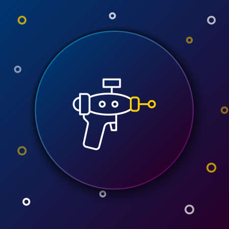 Line Ray gun icon isolated on blue background. Laser weapon. Space blaster. Colorful outline concept. Vector Vettoriali