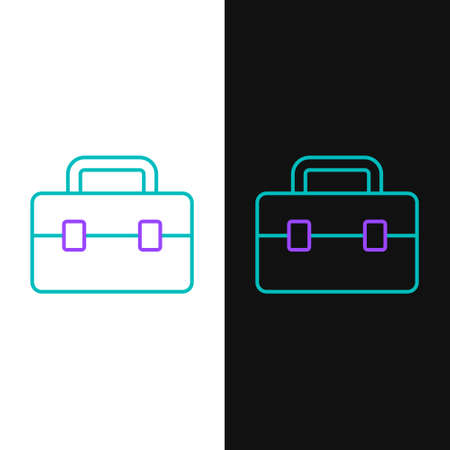 Line Toolbox icon isolated on white and black background. Tool box sign. Colorful outline concept. Vector Vettoriali