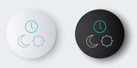 Line Day and night with time icon isolated on grey background. Colorful outline concept. Vector