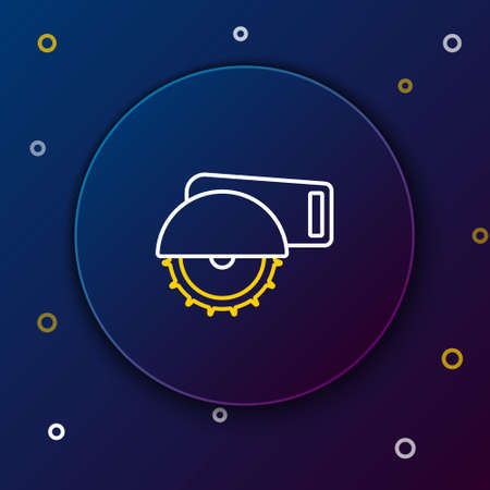 Line Electric circular saw with steel toothed disc icon isolated on blue background. Electric hand tool for cutting wood or metal. Colorful outline concept. Vector
