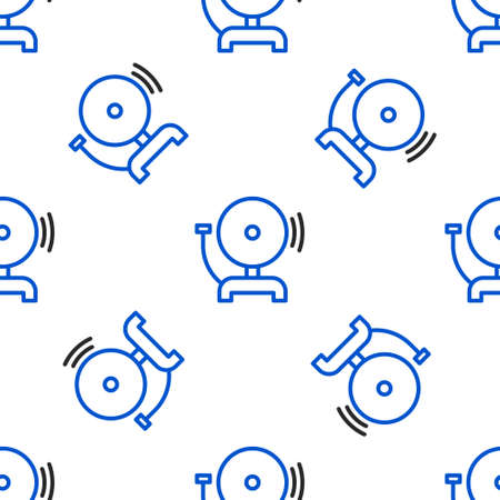 Line Ringing alarm bell icon isolated seamless pattern on white background. Fire alarm system. Service bell, handbell sign, notification symbol. Colorful outline concept. Vector Vettoriali