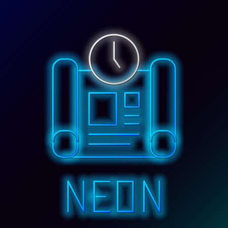 Glowing neon line Business project time plan icon isolated on black background. Colorful outline concept. Vector