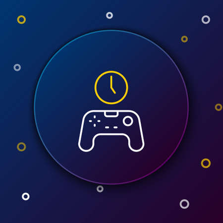 Line Gamepad of time icon isolated on blue background. Time to play games. Game controller. Colorful outline concept. Vector Vettoriali