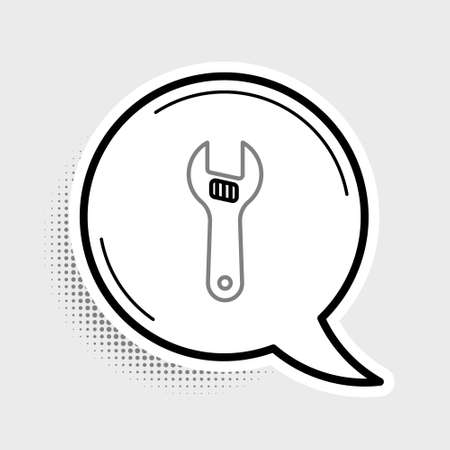 Line Adjustable wrench icon isolated on grey background. Colorful outline concept. Vector