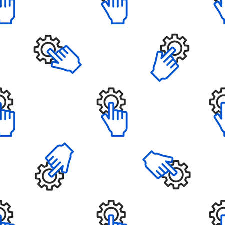 Line Settings in the hand icon isolated seamless pattern on white background. Colorful outline concept. Vector