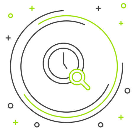 Line Magnifying glass with clock icon isolated on white background. Clock search. Colorful outline concept. Vector Çizim