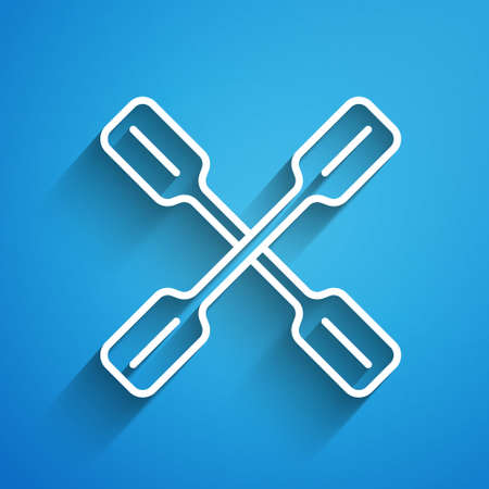 White line Paddle icon isolated on blue background. Paddle boat oars. Long shadow. Vector
