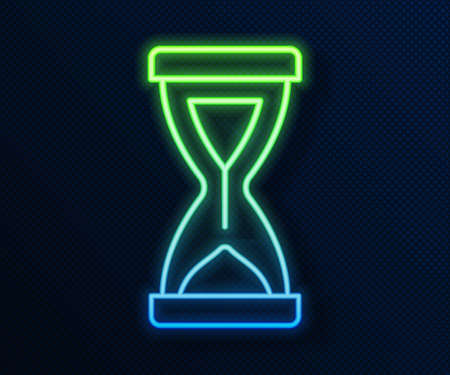 Glowing neon line Old hourglass with flowing sand icon isolated on blue background. Sand clock sign. Business and time management concept. Vector Çizim