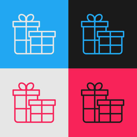 Pop art line Gift box icon isolated on color background. Merry Christmas and Happy New Year. Vector
