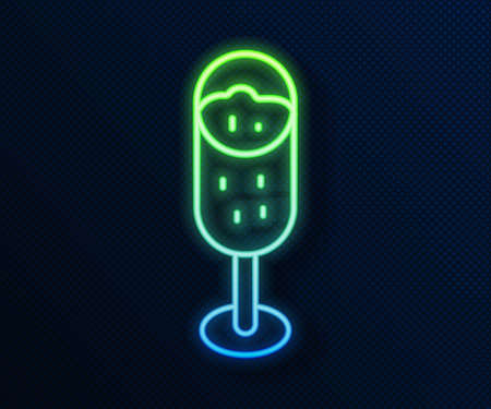 Glowing neon line Glass of champagne icon isolated on blue background. Merry Christmas and Happy New Year. Vector Vettoriali