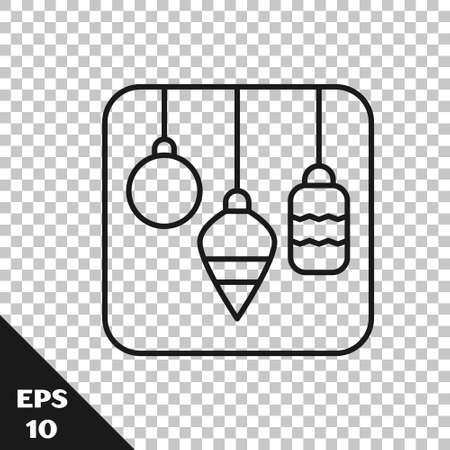 Black line Christmas lights icon isolated on transparent background. Merry Christmas and Happy New Year. Vector Vettoriali