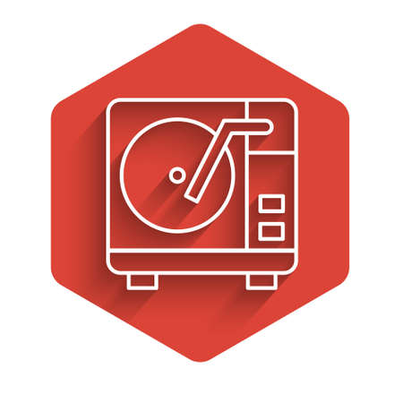 White line Vinyl player with a vinyl disk icon isolated with long shadow. Red hexagon button. Vector