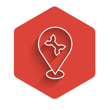 White line Car service icon isolated with long shadow. Auto mechanic service. Repair service auto mechanic. Maintenance sign. Red hexagon button. Vector Vettoriali