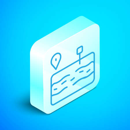 Isometric line Broken road icon isolated on blue background. Silver square button. Vector