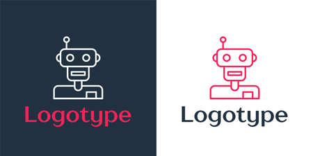 Logotype line Robot icon isolated on white background. Logo design template element. Vector