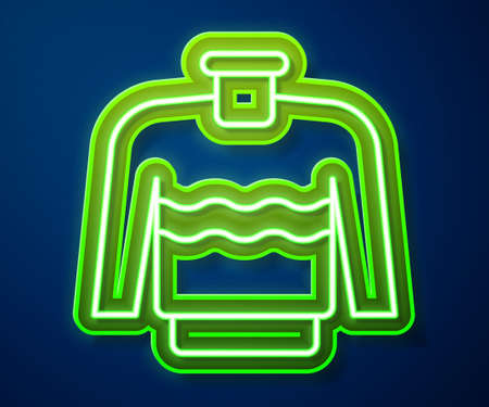 Glowing neon line Sweater icon isolated on blue background. Pullover icon. Vector Vettoriali