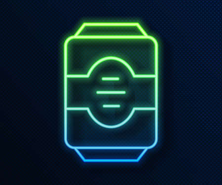 Glowing neon line Energy drink icon isolated on blue background. Vector