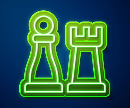 Glowing neon line Chess icon isolated on blue background. Business strategy. Game, management, finance. Vector