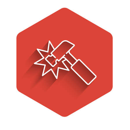 White line Hammer icon isolated with long shadow. Tool for repair. Red hexagon button. Vector