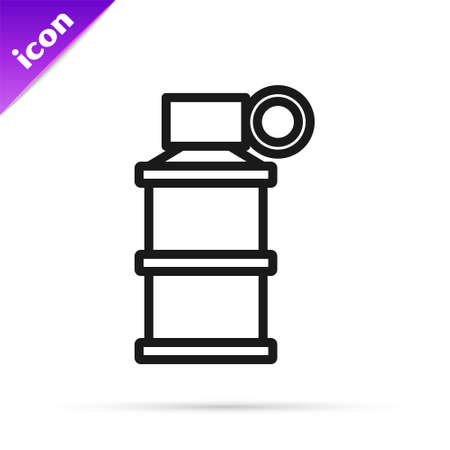 Black line Hand smoke grenade icon isolated on white background. Bomb explosion. Vector 向量圖像