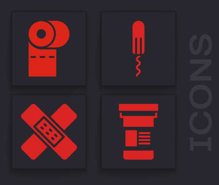 Set Medicine bottle, Toilet paper roll, Sanitary tampon and Crossed bandage plaster icon. Vector Vettoriali