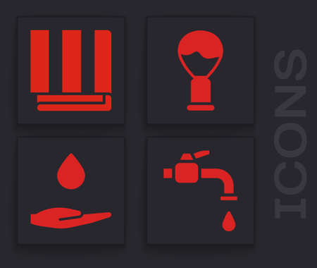 Set Water tap, Towel stack, Shaving brush and Washing hands with soap icon. Vector