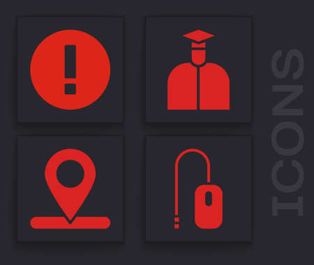 Set Computer mouse, Information, Student and Location icon. Vector