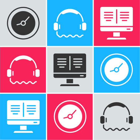 Set Clock, Headphones and Online book on monitor icon. Vector