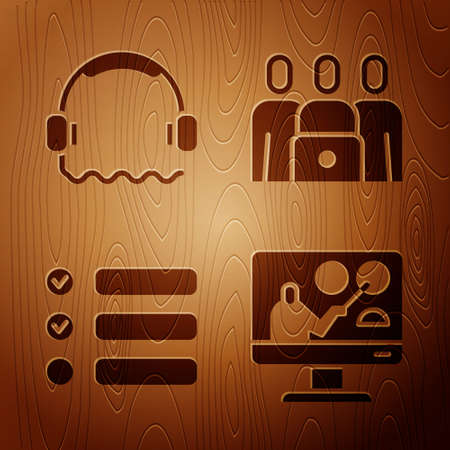 Set Online education, Headphones, Task list and Online class on wooden background. Vector