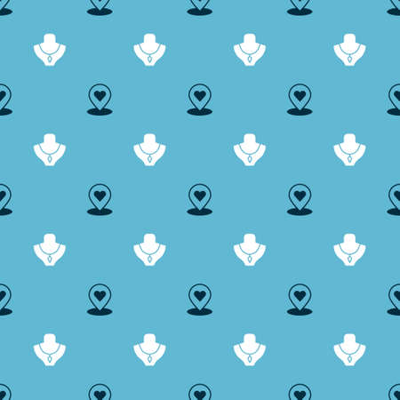 Set Location with heart and Necklace mannequin on seamless pattern. Vector Ilustracja